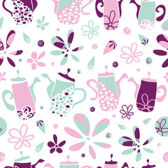Vector pink and green garden tea party seamless pattern background. Perfect for fabric, scrapbooking, giftwrap,  wall paper projects, stationary,