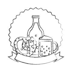 beer bottle glass and pretzel oktoberfest emblem