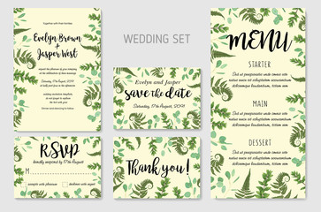 Poster Retro sign Wedding Invitation, floral invite, thank you, rsvp card Design: green fern leaves greenery, eucalyptus and boxwood branches, forest foliage decorative frame print. Vector elegant watercolor rustic set