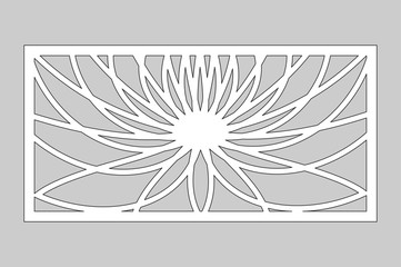 Decorative card for cutting. Geometric flower of lotus pattern. Laser cut. Ratio 1:2. Vector illustration.