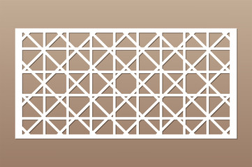 Decorative card for cutting. Abstract geometric linear pattern. Laser cut. Ratio  1:2. Vector illustration.