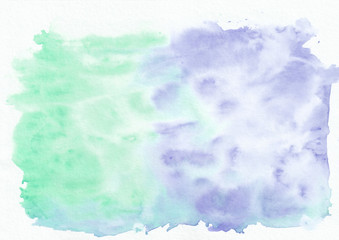 Indigo (iris) and mint (jade) mixed watercolor horizontal gradient background. It's useful for greeting cards, valentines, letters. Abstract art style handicraft pattern