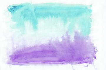 Purple (or amethyst) and turquoise (sky blue) mixed watercolor horizontal gradient background. It's useful for greeting cards, valentines, letters. Abstract art style handicraft pattern