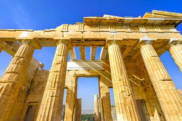 Propylaea Ancient Entrance Gateway Ruins Acropolis Athens Greece