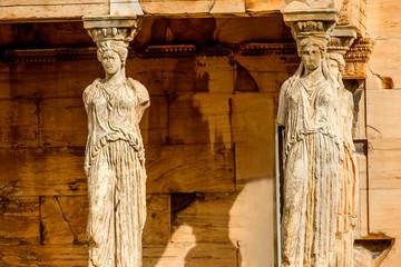 Porch Caryatids Ruins Temple Erechtheion Acropolis Athens Greece