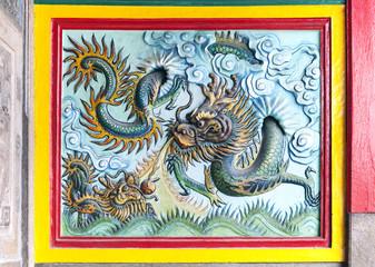 Dragon decoration of a temple in Vietnam