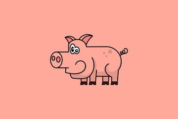 Cartoon piggy vector illustration on pink background