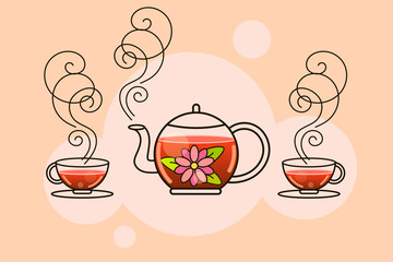 Tea. Fresh brewed tea-Brew a kettle, pour into a Cup of tea.