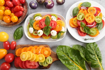 Tomato salad. Colorful tomatoes.