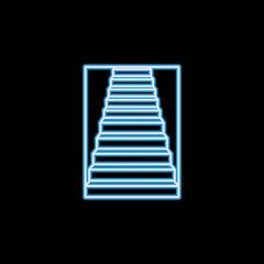 stairway up icon in neon style. One of Stairs collection icon can be used for UI, UX