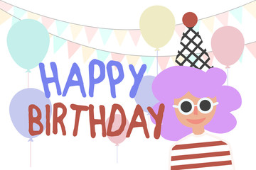 Girl and Happy Birthday. Vector holiday background. Balloons and party flags.