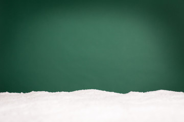 Christmas Snow with Green Background - Room for Text