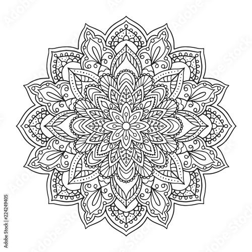 Black Indian Mandala On White Background Decorative Flower Drawing For Meditation Coloring Book Ethnic Jpg 500x500