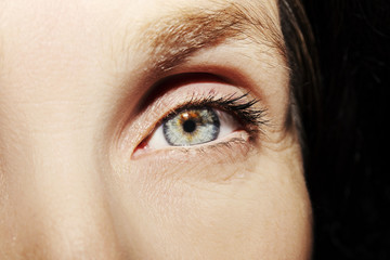 A beautiful insightful look woman's eye. Close up shot.