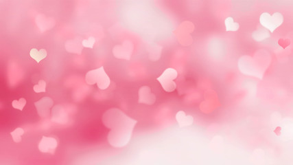 Wall Mural -  Pink background with hearts blurred
