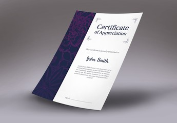 Certificate Layout with Floral Sidebar