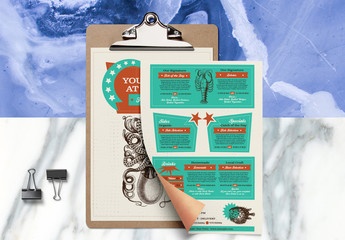 Restaurant Menu Layout with Sea Life Illustrations