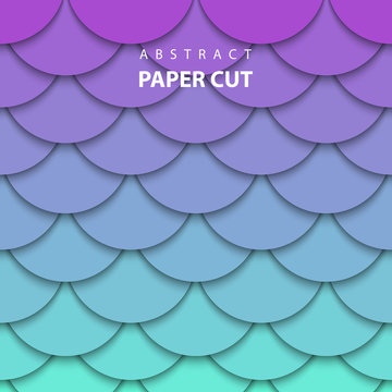 Vector background with neon lilac and turquoise color paper cut shapes. 3D abstract paper art style, design layout for business presentations, flyers, posters, prints, decoration, cards, brochure