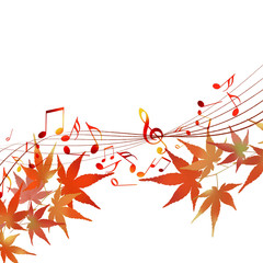 譜面 音楽 紅葉 五線譜 ト音記号 音符 秋の譜面