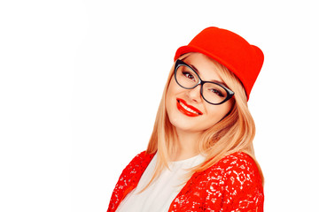 cool woman in red cap looking at you camera smiling