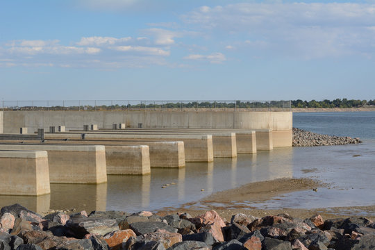 Colorado city water supply at Lake Standley reservoir for cities of Westminster, Northglenn, and Thornton in Colorado drying up from drought