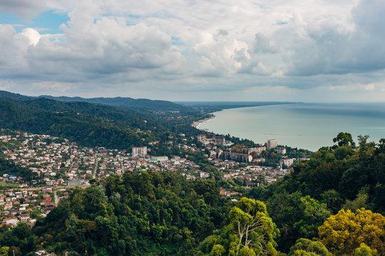 Aerial view of Black sea coast at resort town Sukhum