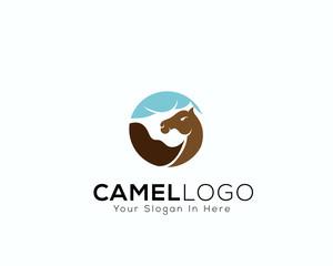 Circle camel logo travel art