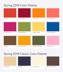 Spring / Summer 2019 Color Palette Example. Future Color Trend Forecast. Saturated and Classic Neutral Color Samples Set. Palette Guide with Named Color Swatches.