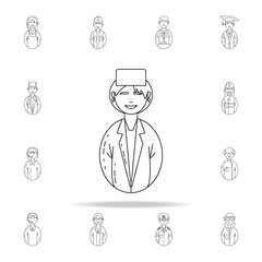 avatar woman doctor icon. Avatars icons universal set for web and mobile