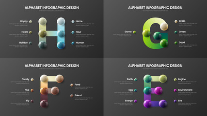 Amazing vector alphabet infographic 3D realistic colorful balls presentation bundle. Creative bright multicolor character design illustration layout. Modern art symbol visualization template set.