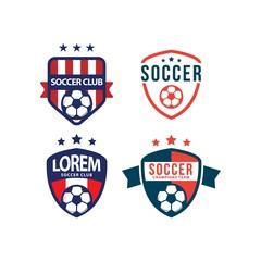 Soccer Club Logo Set Vector Template Design Illustration