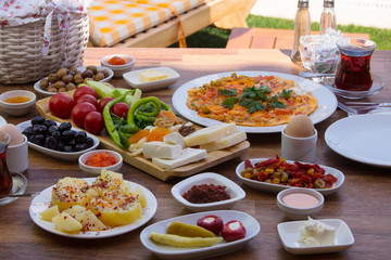 travel concept setup with traditional turkish breakfast
