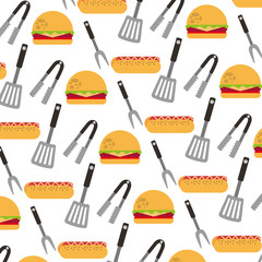 delicious fast food and cutleries pattern
