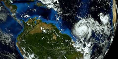 Extremely detailed and realistic high resolution 3D illustration of a hurricane approaching South America. Shot from Space. Elements of this illustration are furnished by Nasa.