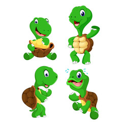 the collection of the green tortoise with different posing