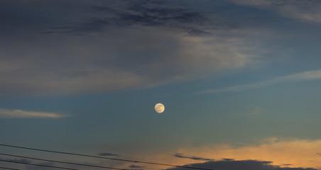 beautiful moon at the sunset