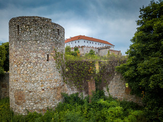 Medieval round tower in Siklos castle Hungary