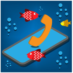 Water resistance phone. fish call in water. Vector illustration design.