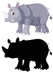 Colour and silhouette of rhinoceros