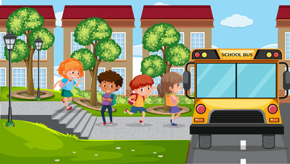 Student getting in bus