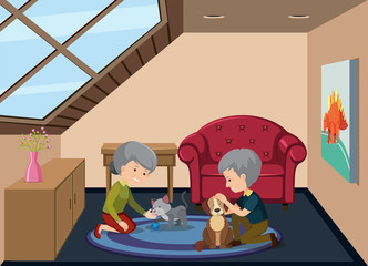 Senior couple and pet at attic