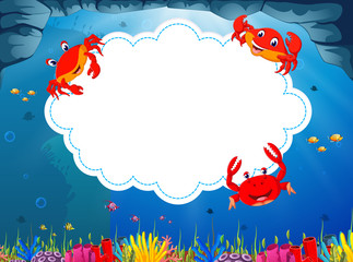 the ocean view with the cloud board blank space and three little crab around the frame