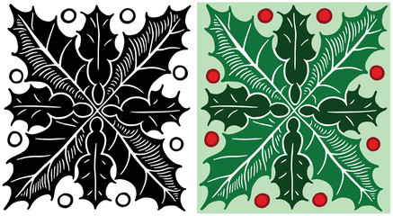 A Christmas holiday pattern of holly leaves and berries.