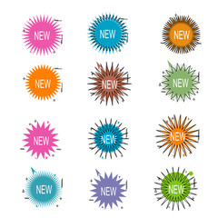 set of abstract star burst geometric sale banner or background vector