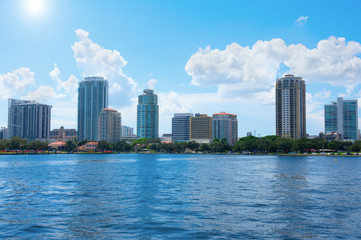 Saint Petersburg, Florida, buildings cityscape along the blue water shoreline of Tampa Bay on a beautiful sunny afternoon.