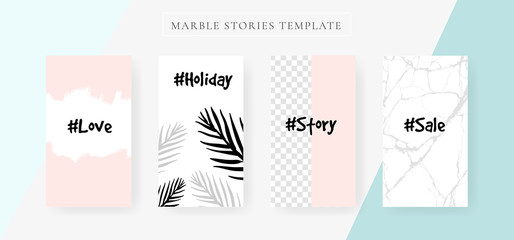 Instagram Stories template.  Marble Highlights Covers Design Vector
