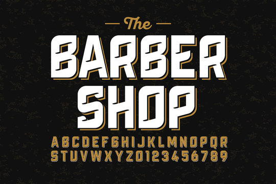 Vintage font design, barber shop style alphabet letters and numbers