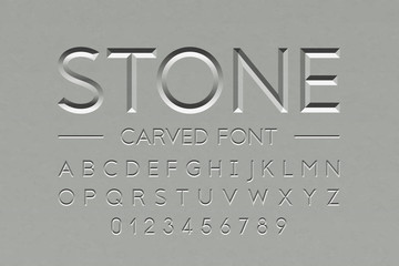 Stone carved font, alphabet letters and numbers Wall mural