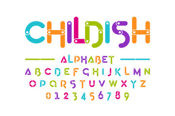 Childish colorful font, construction set alphabet letters and numbers
