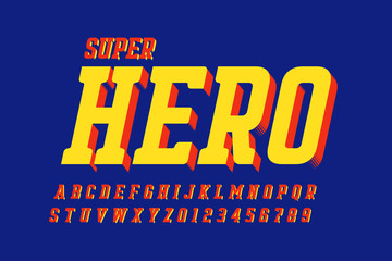 Comics style font design, alphabet letters and numbers
